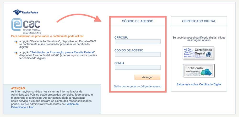Imagem mostrando o site do eCAC para verificação de DAE da empregada doméstica.